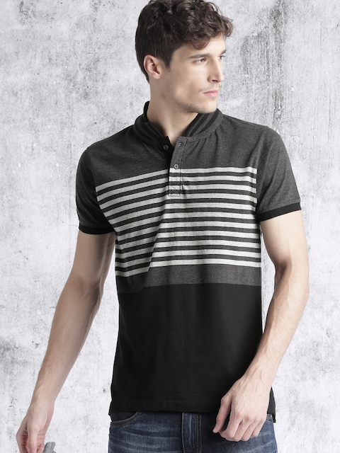 Roadster Men Charcoal Grey Striped Mandarin Collar T-shirt