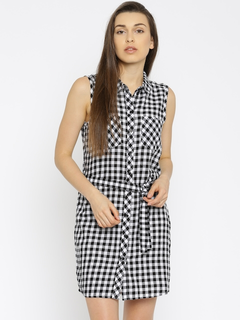 ONLY Women Black & White Checked Shirt Dress