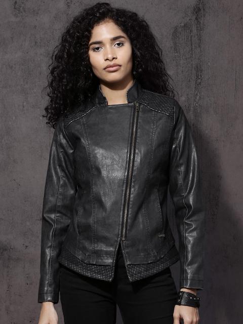 Roadster Women Black Solid Biker Jacket