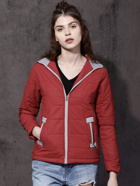 Roadster Women Red Solid Padded Jacket