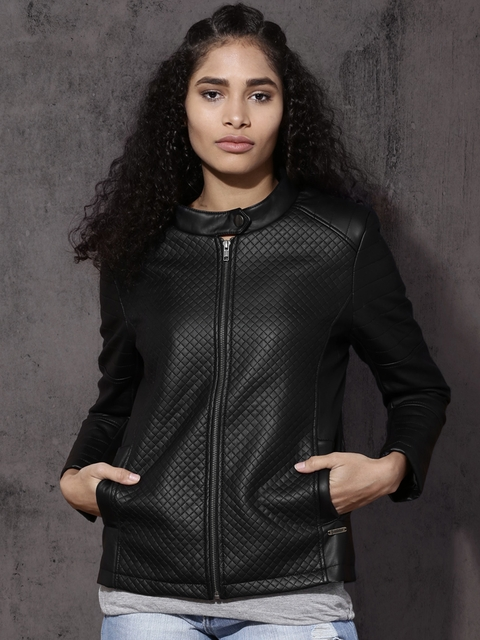 Roadster Women Black Quilted Biker Jacket
