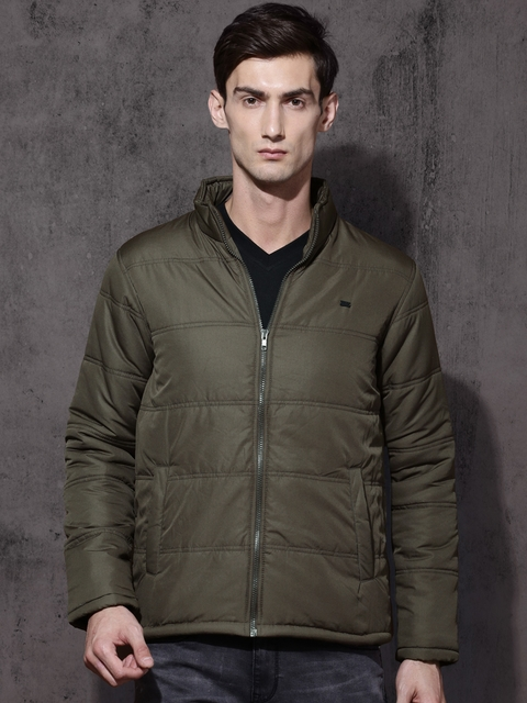 Roadster Men Olive Green Solid Quilted Jacket