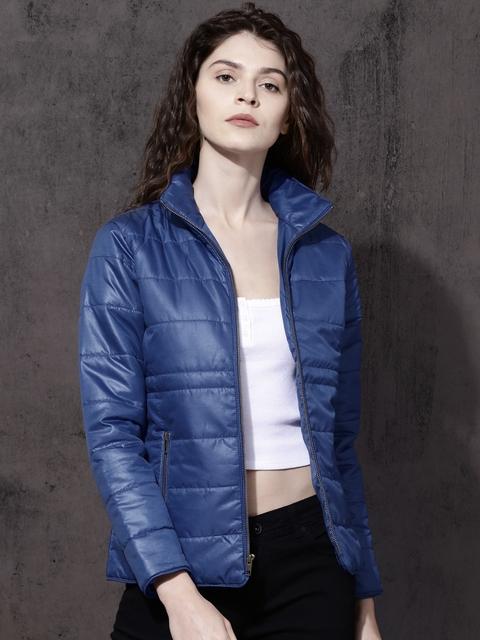 Roadster Women Blue Self Design Bomber