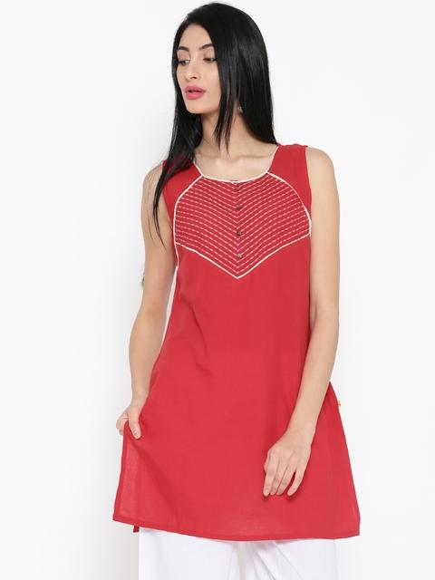 AURELIA Women Red Yoke Design Straight Kurta  available at myntra for Rs.419