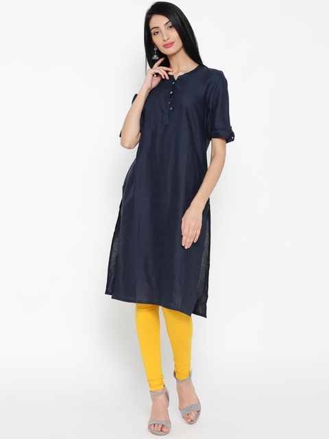 AURELIA Women Navy Solid Straight Kurta  available at myntra for Rs.479