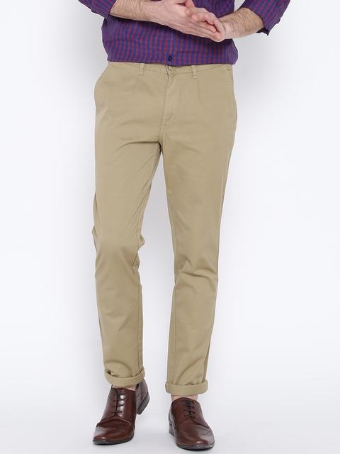 John Players Men Beige Slim Fit Casual Trousers