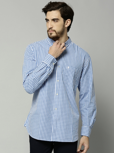 French Connection Men Blue & White Checked Casual Shirt