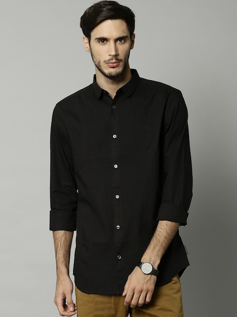 French Connection Men Black Regular Fit Solid Casual Shirt