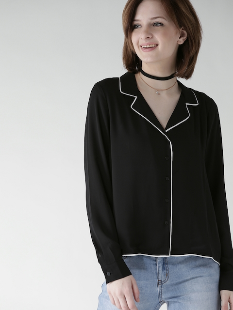 FOREVER 21 Women Black Solid Casual Shirt