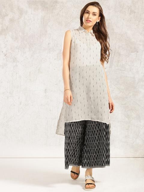 Anouk Women White & Black Printed Straight Kurta