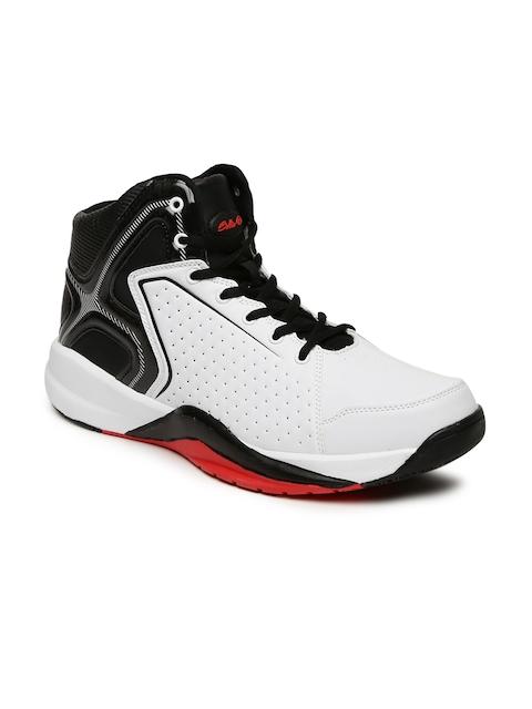 Boltio Men White & Black Colourblocked High-Top Basketball Shoes