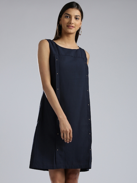 W Women Navy Solid A-Line Dress