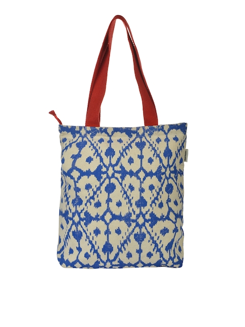Pick Pocket Blue & Off-White Printed Tote Bag  available at myntra for Rs.249