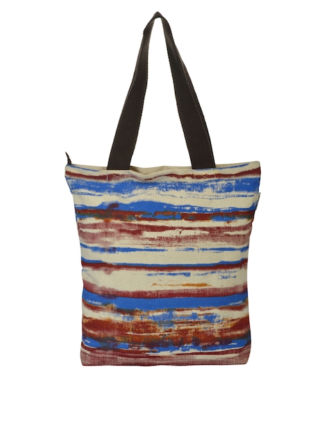Pick Pocket Blue & Brown Printed Tote Bag  available at myntra for Rs.249