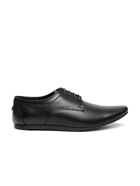 Carlton London Men Black Perforated Leather Derby Shoes