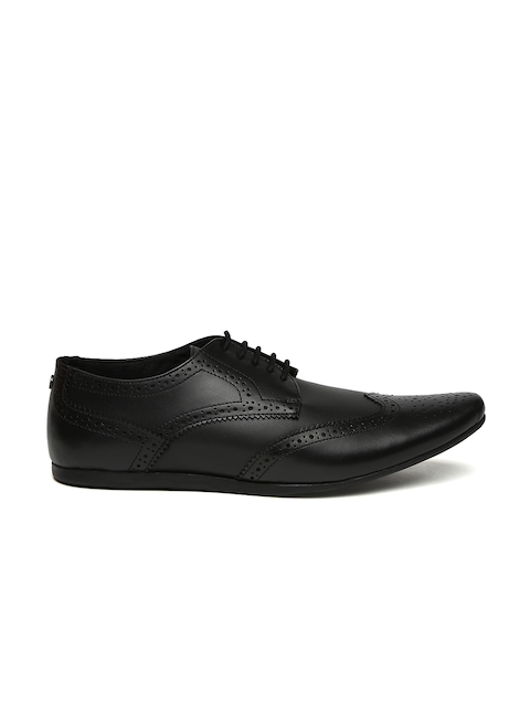 Carlton London Men Black Leather Semiformal Brogues