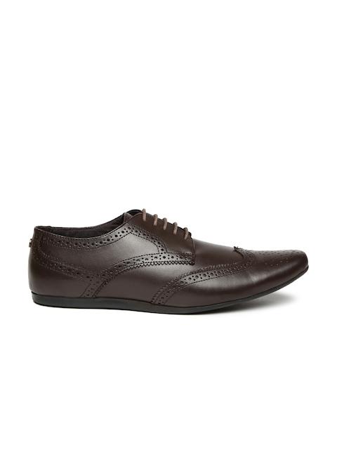 Carlton London Men Coffee Brown Leather Semiformal Brogues