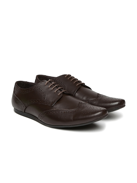 Carlton London Men Coffee Brown Leather Semiformal Brogues
