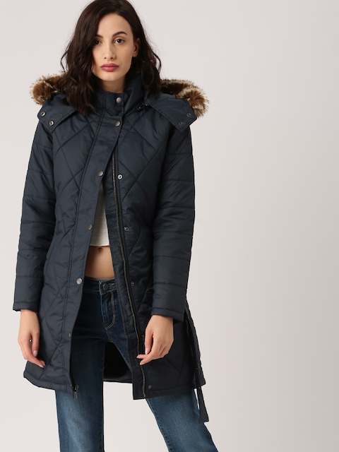 all about you Women Navy Blue Solid Parka