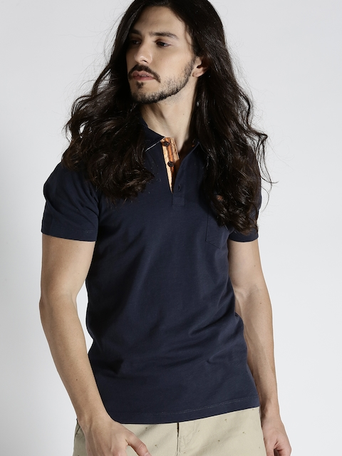 s.Oliver Men Navy Solid Slim Polo T-shirt