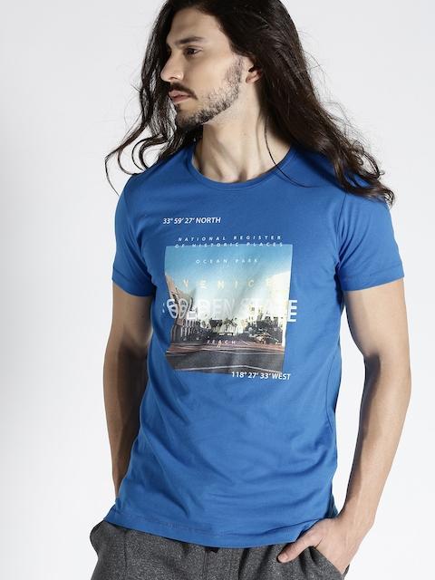 s.Oliver Men Blue Printed Round Neck T-shirt