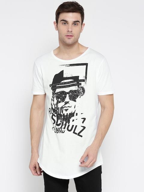 s.Oliver Men White Printed Round Neck T-shirt