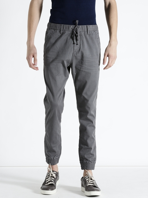 s.Oliver Men Grey Solid Joggers