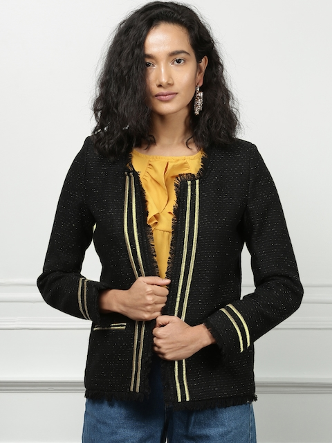 all about you from Deepika Padukone Women Black Self Design Open Front Jacket