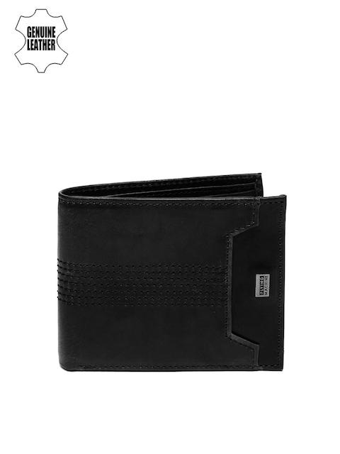 Flying Machine Men Black Self-Design Genuine Leather Wallet