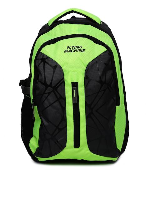 Flying Machine Unisex Grey & Neon Green Textured Backpack