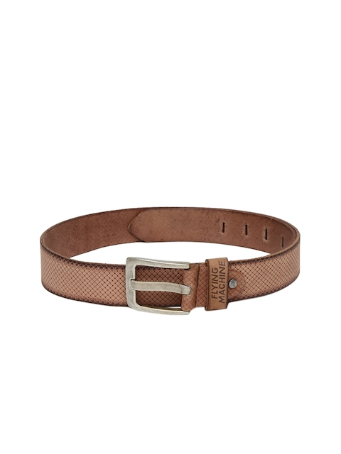 Flying Machine Men Brown Textured Leather Belt