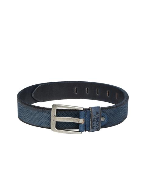 Flying Machine Men Blue Textured Leather Belt