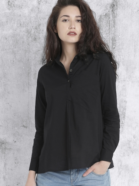 Roadster Women Black Solid Casual Shirt
