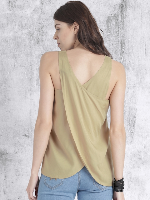 Roadster Beige Solid Styled Back Top