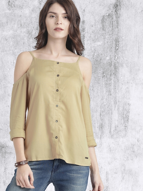 Roadster Women Beige Cold Shoulder Top