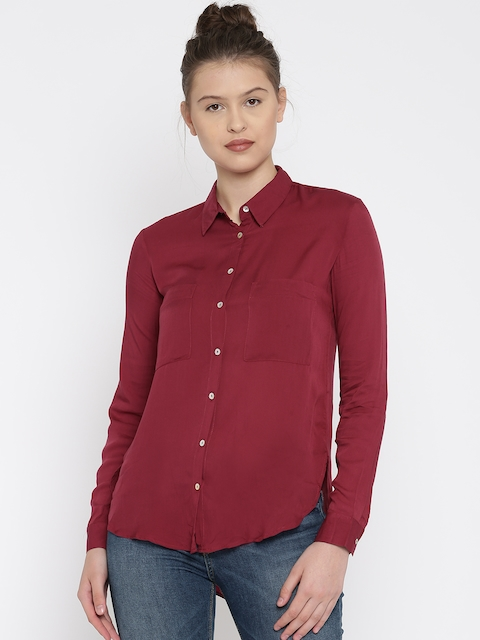 ALCOTT Women Burgundy Solid Casual Shirt