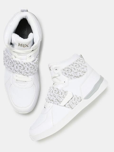 HRX by Hrithik Roshan Men White & Grey Woven Design High-Top Sneakers