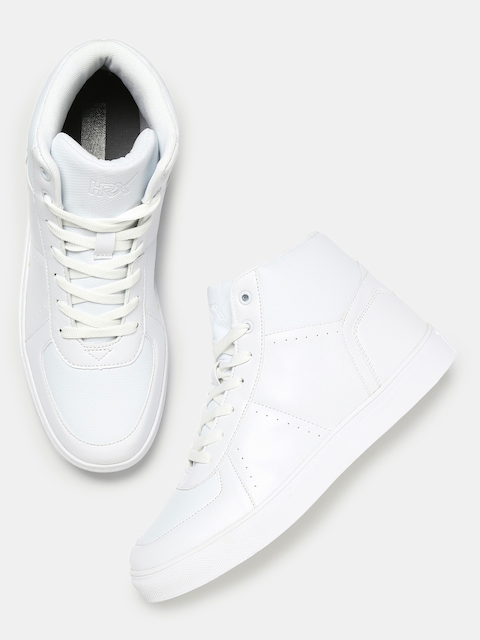 HRX by Hrithik Roshan Men White Solid High-Top Sneakers