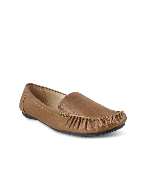 Mochi Women Gold-Toned Loafers