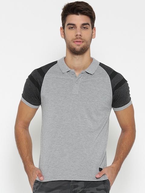 Roadster Men Grey Melange Solid Polo Collar T-shirt