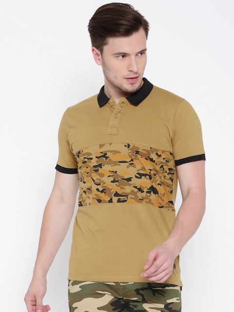 Roadster Men Mustard Brown Printed Polo Collar T-shirt  available at myntra for Rs.359