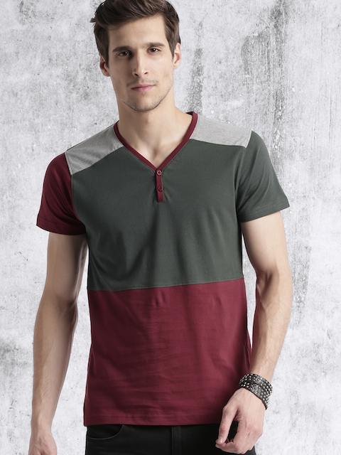 Roadster Men Grey Melange Colourblocked T-shirt