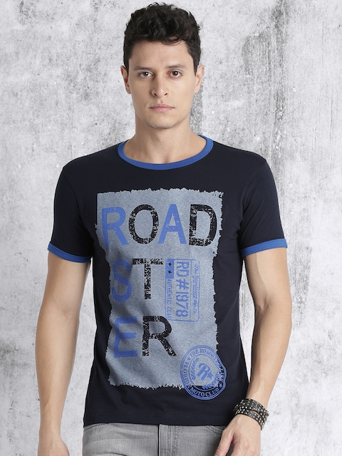 Roadster Men Navy Blue Printed Round Neck T-shirt  available at myntra for Rs.179