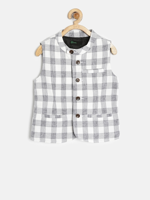 United Colors of Benetton Boys Off-White & Grey Checked Waistcoat