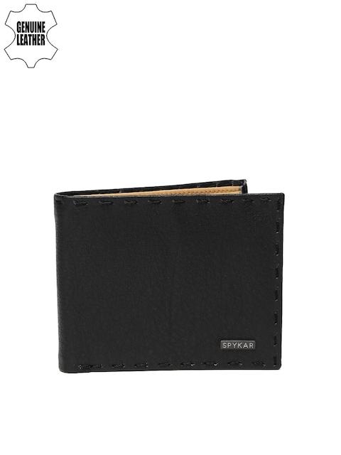 SPYKAR Men Black Solid Genuine Leather Two Fold Wallet