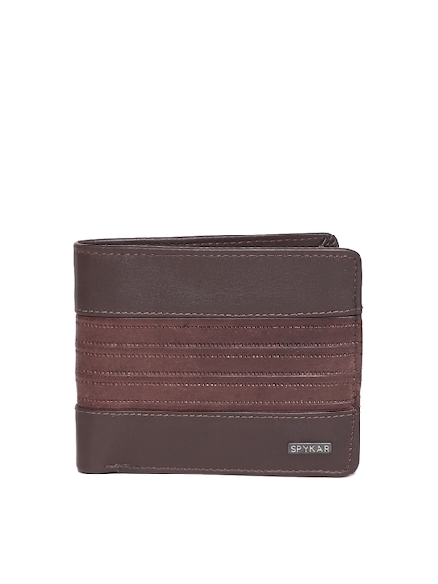 SPYKAR Men Brown Solid Leather Two Fold Leather Wallet