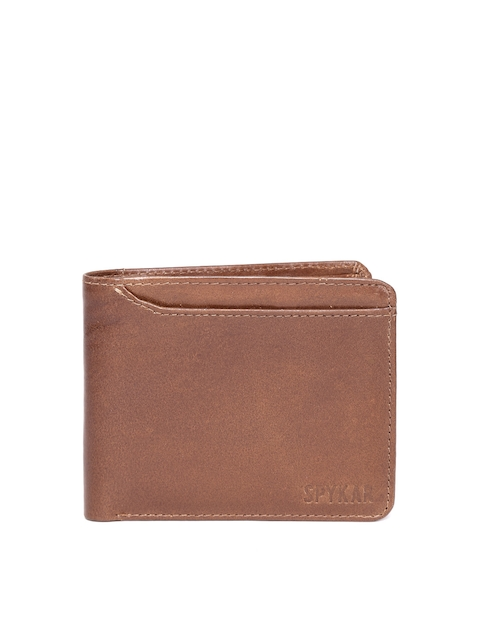 SPYKAR Men Brown Solid Leather Two Fold Wallet
