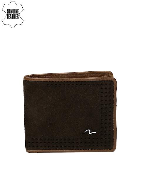 SPYKAR Men Brown Textured Genuine Leather Twofold Wallet