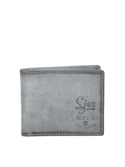 SPYKAR Men Charcoal Grey Solid Leather Two Fold Wallet