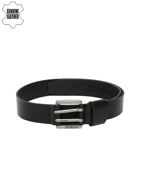 SPYKAR Men Black Textured Genuine Leather Belt
